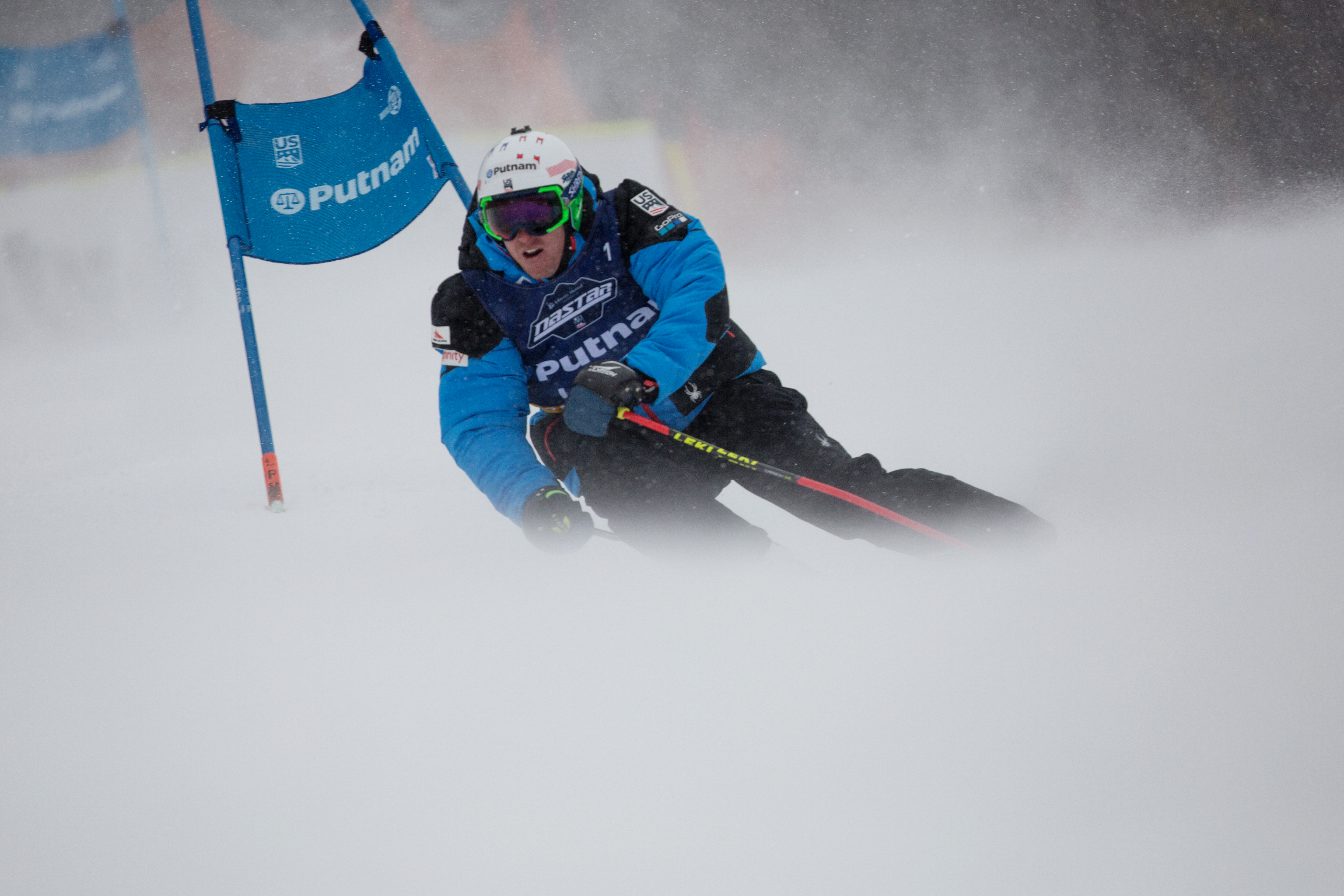 Ligety getting hit by a just of wind at the National Pacesetting Trials