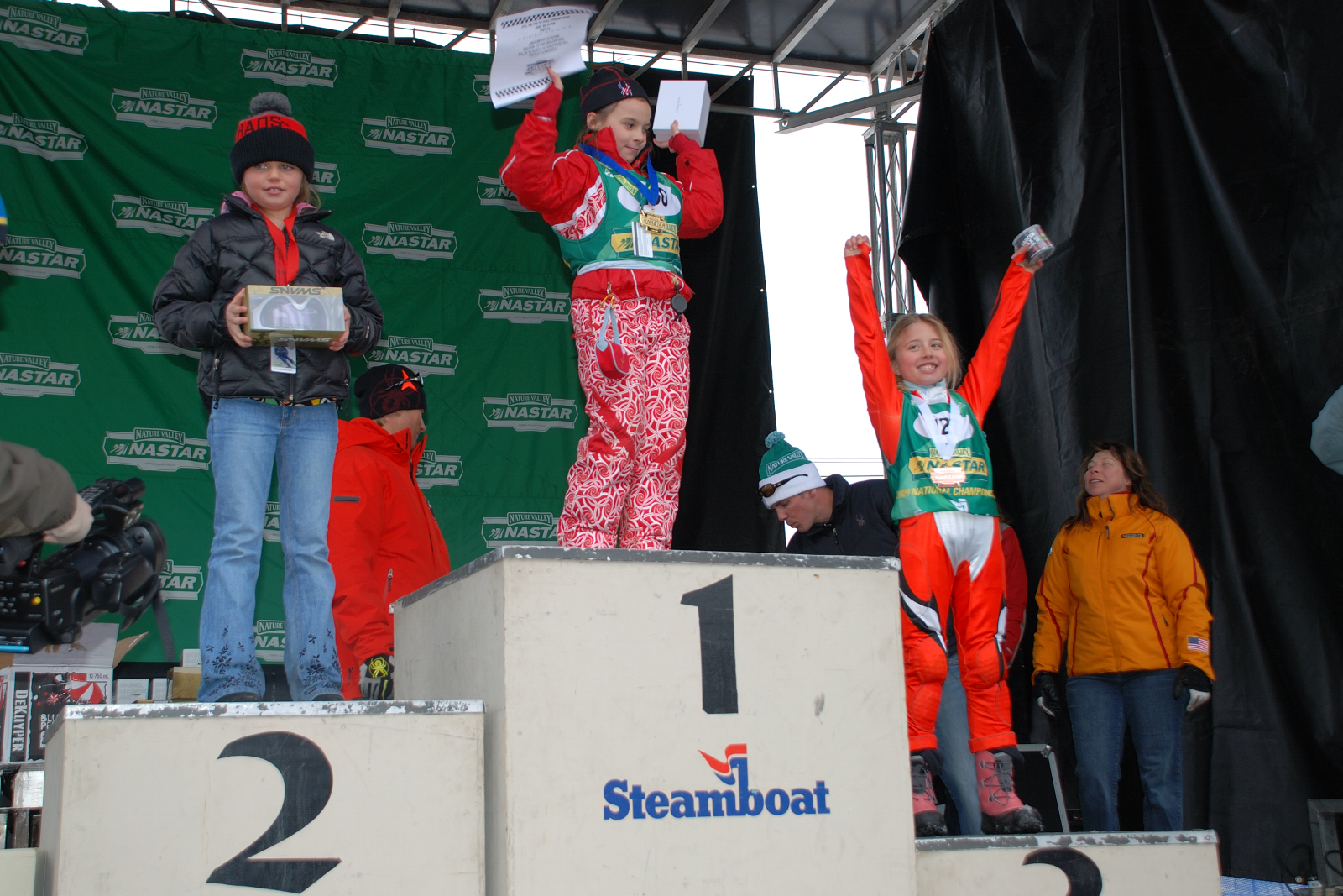 Ainsley Proffit stands on her first podium of her ski racing career. Little did she know that race would take her down a path towards joining the U.S. development team. Photo courtesy of Ainsley Proffit.