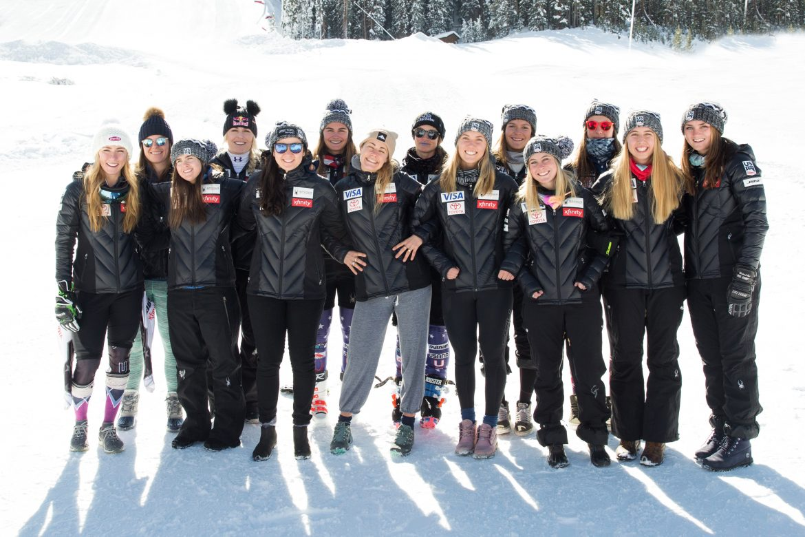 Proffit (second right) poses with the rest of the 2018-19 U.S. Alpine Ski Team during the Copper Mountain training block in November 2018. Photo: U.S. Ski & Snowboard