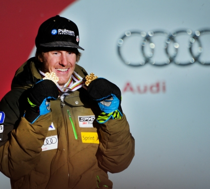 Ted Ligety with Medals (Tom Kelly)